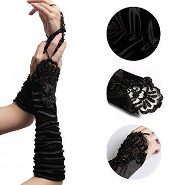 iLoveCos Lange Fingerlose Elastischer Spitze Braut Handschuhe 1920er Zubehör Flapper Kostüm für Frauen (Black) - 3