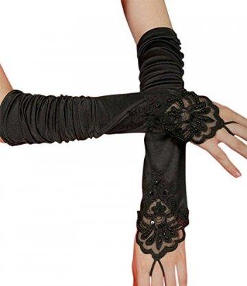 iLoveCos Lange Fingerlose Elastischer Spitze Braut Handschuhe 1920er Zubehör Flapper Kostüm für Frauen (Black) - 1