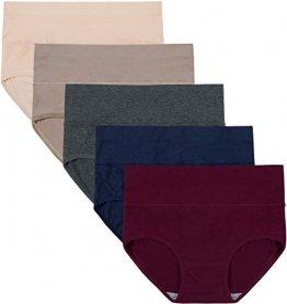 INNERSY Unterwäsche Frauen Bauchweg Unterhose Damen Slips Mehrpack Bauwolle Hohe Taille Panties (3XL-EU 48, Colour 5F) - 1