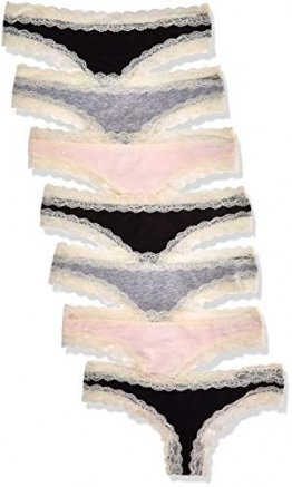 Iris & Lilly BELK015M7 Tanga, Multicolour (Black/Melange/Soft Pink), 38 (Herstellergröße: Medium), 7er-Pack - 1