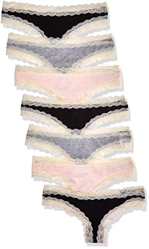 Iris & Lilly BELK015M7 Tanga, Multicolour (Black/Melange/Soft Pink), 38 (Herstellergröße: Medium), 7er-Pack - 1