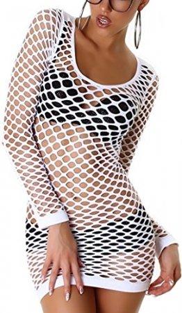 Jela London Damen Fishnet Longtop Minikleid Netz-Kleid Mesh transparent durchsichtig GoGo Langarm, Weiß 32 34 36 - 1
