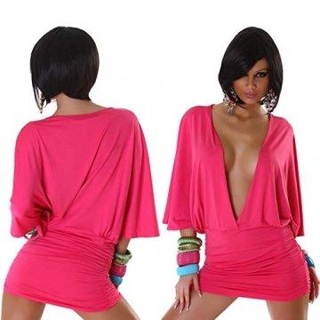 Jela London Damen Offenes Partykleid Clubwear GoGo Swinger Cocktail vorne offen Fledermausärmel, Pink 36 38 - 2