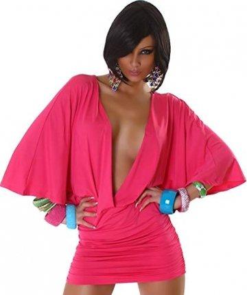 Jela London Damen Offenes Partykleid Clubwear GoGo Swinger Cocktail vorne offen Fledermausärmel, Pink 36 38 - 3