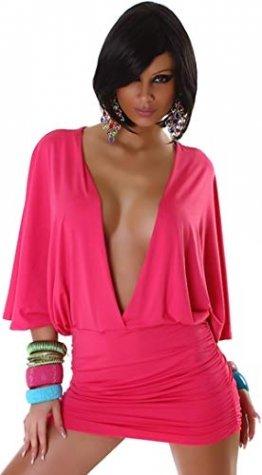 Jela London Damen Offenes Partykleid Clubwear GoGo Swinger Cocktail vorne offen Fledermausärmel, Pink 36 38 - 1