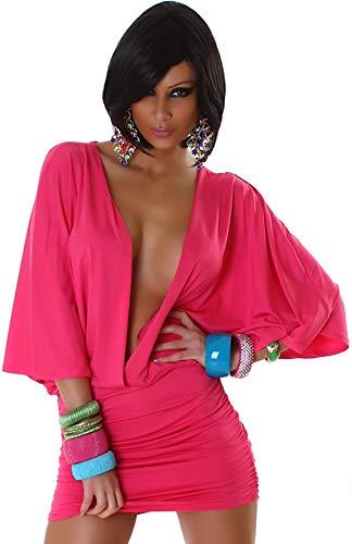 Jela London Damen Offenes Partykleid Clubwear GoGo Swinger Cocktail vorne offen Fledermausärmel, Pink 36 38 - 5