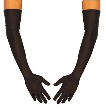 jowiha® Lange Satinhandschuhe in Schwarz Rot oder Weiß Einheitsgröße 53cm (Schwarz) -
