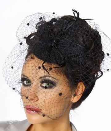 jowiha® Mini Hut mit Schleier aus Tüll und Satinrose in Schwarz oder Rot (Schwarz) - 2