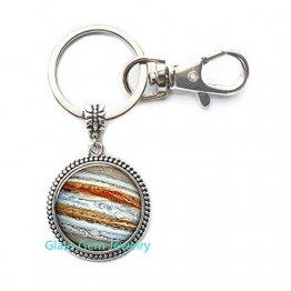 Jupiter Schlüsselanhänger, Planet Schlüsselring, Kristallschmuck, Galaxy Universe Science Dome Cabochon Schlüsselanhänger Q0280 - 1
