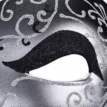 Kapmore Venezianische Maske Herren Maskerade Maske Phantom der Oper Maske Maskenball Maske Kostüme Karneval Party Halloween - 5