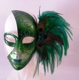 Karneval in Venedig Maske Grün mit Pfauenfedern - 1