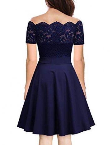 KOJOOIN Damen 1950er Vintage Brautjungfernkleider für Hochzeit Kurzes A-Linie Abendkleider, Dunkelblau (Off Schulter), Gr.- M/38-40 - 2