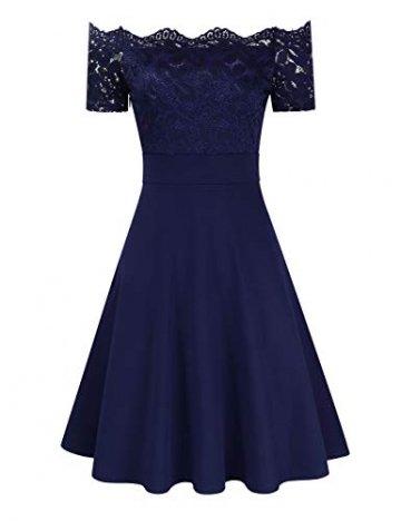 KOJOOIN Damen 1950er Vintage Brautjungfernkleider für Hochzeit Kurzes A-Linie Abendkleider, Dunkelblau (Off Schulter), Gr.- M/38-40 - 3