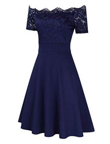 KOJOOIN Damen 1950er Vintage Brautjungfernkleider für Hochzeit Kurzes A-Linie Abendkleider, Dunkelblau (Off Schulter), Gr.- M/38-40 - 4