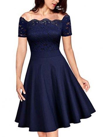 KOJOOIN Damen 1950er Vintage Brautjungfernkleider für Hochzeit Kurzes A-Linie Abendkleider, Dunkelblau (Off Schulter), Gr.- M/38-40 - 1