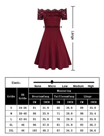 KOJOOIN Damen 1950er Vintage Brautjungfernkleider für Hochzeit Kurzes A-Linie Abendkleider, Dunkelblau (Off Schulter), Gr.- M/38-40 - 7