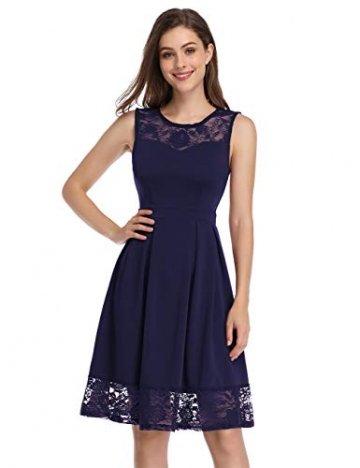 KOJOOIN Damen Elegant Kleider Spitzenkleid Ohne Arm Cocktailkleid Knielang Rockabilly Kleid Blau Dunkelblau S - 1