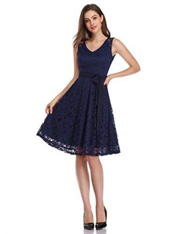 KOJOOIN Damen Kleid Brautjungfernkleid Knielang Spitzenkleid Ärmellos Cocktailkleid Dunkelblau Navyblau S - 3
