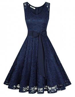 KOJOOIN Damen Kleid Brautjungfernkleid Knielang Spitzenkleid Ärmellos Cocktailkleid Dunkelblau Navyblau S - 1