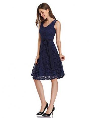 KOJOOIN Damen Kleid Brautjungfernkleid Knielang Spitzenkleid Ärmellos Cocktailkleid Dunkelblau Navyblau S - 4
