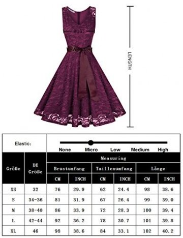 KOJOOIN Damen Kleid Brautjungfernkleid Knielang Spitzenkleid Ärmellos Cocktailkleid Dunkelblau Navyblau S - 6