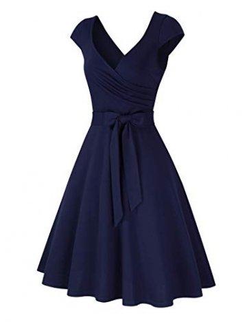 KOJOOIN Damen Vintage 50er V-Ausschnitt Abendkleid Rockabilly Retro Kleider Hepburn Stil Cocktailkleid Dundelblau S - 2