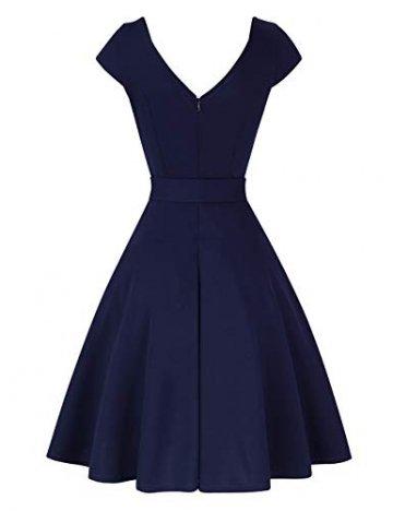 KOJOOIN Damen Vintage 50er V-Ausschnitt Abendkleid Rockabilly Retro Kleider Hepburn Stil Cocktailkleid Dundelblau S - 3