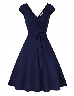 KOJOOIN Damen Vintage 50er V-Ausschnitt Abendkleid Rockabilly Retro Kleider Hepburn Stil Cocktailkleid Dundelblau S - 1