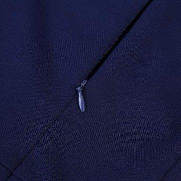 KOJOOIN Damen Vintage 50er V-Ausschnitt Abendkleid Rockabilly Retro Kleider Hepburn Stil Cocktailkleid Dundelblau S - 4
