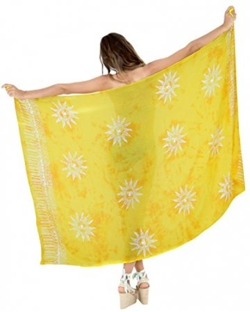 LA LEELA Badeanzug Hand Tie-Dye-Strandbadebekleidung Bikini Wickelrock Sarong Vertuschung golden - 2