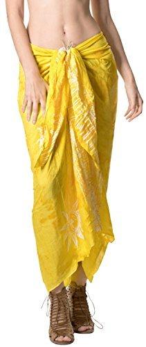 LA LEELA Badeanzug Hand Tie-Dye-Strandbadebekleidung Bikini Wickelrock Sarong Vertuschung golden - 3