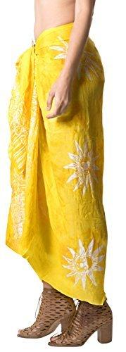 LA LEELA Badeanzug Hand Tie-Dye-Strandbadebekleidung Bikini Wickelrock Sarong Vertuschung golden - 4