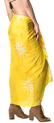 LA LEELA Badeanzug Hand Tie-Dye-Strandbadebekleidung Bikini Wickelrock Sarong Vertuschung golden - 5
