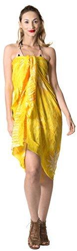 LA LEELA Badeanzug Hand Tie-Dye-Strandbadebekleidung Bikini Wickelrock Sarong Vertuschung golden - 6