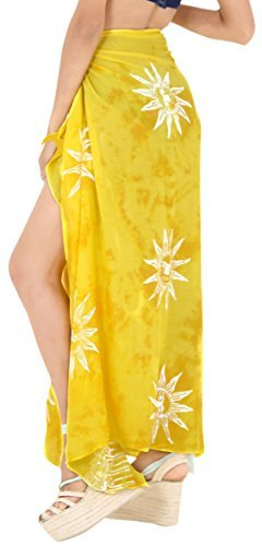 LA LEELA Badeanzug Hand Tie-Dye-Strandbadebekleidung Bikini Wickelrock Sarong Vertuschung golden - 1