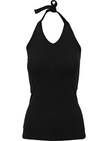 Ladies Neckholder Shirt Damen T-Shirt Shirt Top kurzarm kurzärmlig, Größe:XL, Farbe:Black -