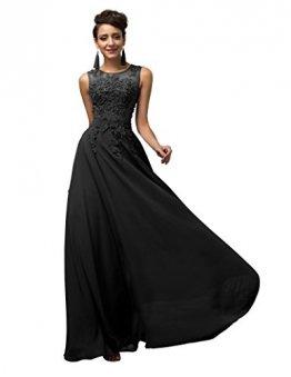 Lange Damen Abendkleider Ballkleider Partykleider Ärmellos Chiffon Kleid für Hochzeit Brautjungfer- Gr. 38, Cl7555-3 - 1