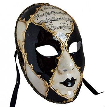 Lannakind Venezianische Maske Gesichtsmaske Volto Damen Karneval, Ballmaske, Wand-Deko (V05 schwarz) - 2