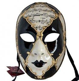 Lannakind Venezianische Maske Gesichtsmaske Volto Damen Karneval, Ballmaske, Wand-Deko (V05 schwarz) - 1