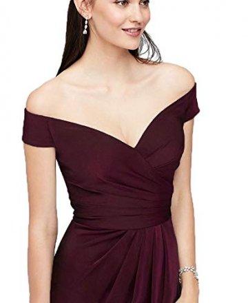 Laorchid Damen Lang Kleider Vintage 50's Abendkleid Ärmellos Schulterfrei Brautjungfern Cocktail Hochzeit Partei Burgundy XXL - 3