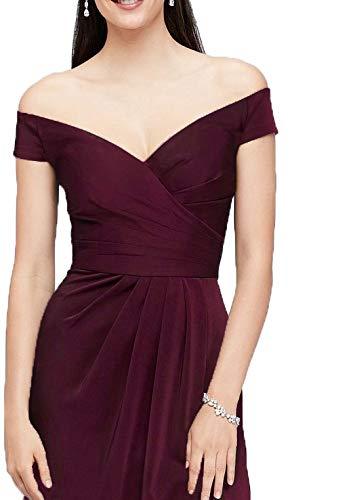 Laorchid Damen Lang Kleider Vintage 50's Abendkleid Ärmellos Schulterfrei Brautjungfern Cocktail Hochzeit Partei Burgundy XXL - 4