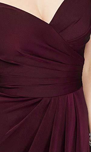 Laorchid Damen Lang Kleider Vintage 50's Abendkleid Ärmellos Schulterfrei Brautjungfern Cocktail Hochzeit Partei Burgundy XXL - 5