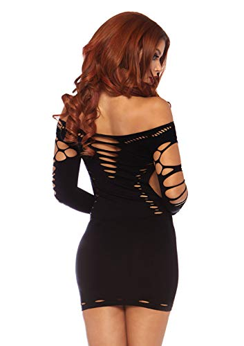 Leg Avenue 87039 - Nahtloses Mini Kleid Mit Slashlook Und Seitlichen Cut-Outs Akzente Dessous Damen Reizwäsche, Einheitsgröße (EUR 36-40) - 2