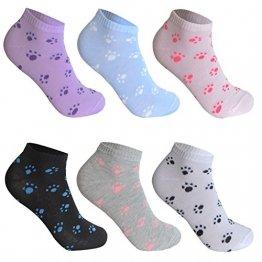L&K-II 12 Paar Damen Sneaker Socken Mädchen Füßlinge Bambus mit Ringel Punkte Muster 92279 35-38 - 1