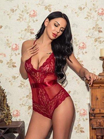 Lucyme Sexy Body Damen Reizwäsche Lingerie Spitze Unterwäsche Nachtkleid Dessous Bodysuit Erotik - 2