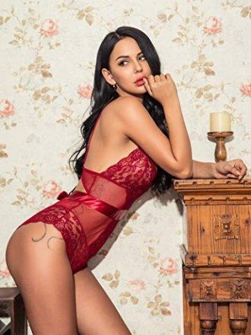 Lucyme Sexy Body Damen Reizwäsche Lingerie Spitze Unterwäsche Nachtkleid Dessous Bodysuit Erotik - 3