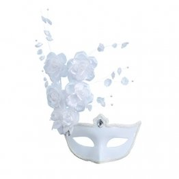 LUOEM Maske Maskenball Venedig Große Blume Strass Damen (weiß) - 1