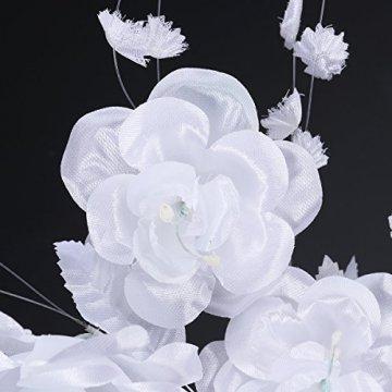 LUOEM Maske Maskenball Venedig Große Blume Strass Damen (weiß) - 3