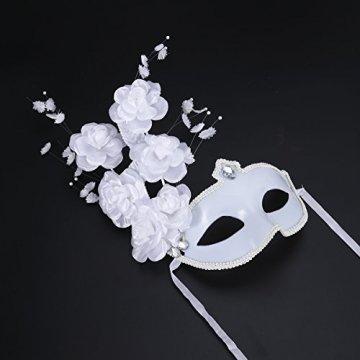 LUOEM Maske Maskenball Venedig Große Blume Strass Damen (weiß) - 4