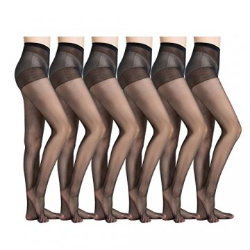 MANZI Damen 6 Paare Classic Strumpfhose mit Comfort Stretch 20 Denier,Schwarz,Beige - 8